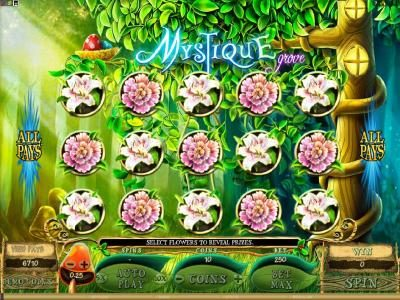 Quatro featuring the Video Slots Mystique Grove with a maximum payout of $12,500