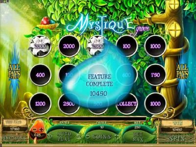 Instacasino featuring the Video Slots Mystique Grove with a maximum payout of $12,500
