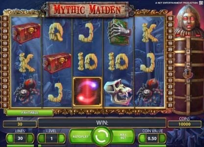 Mega Casino featuring the Video Slots Mythic Maiden with a maximum payout of $10,000