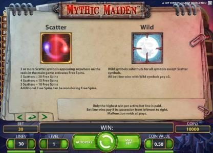 Maxino featuring the Video Slots Mythic Maiden with a maximum payout of $10,000
