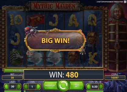 Mythic Maiden :: multiple winning paylines triggers a 276 coin jackpot