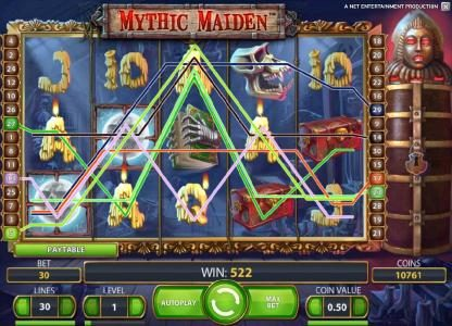 Mythic Maiden :: 522 coin jackpot triggered by multiple winning paylines