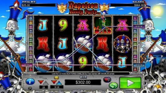Play slots at Slotty Vegas: Slotty Vegas featuring the Video Slots Napoleon Boney Parts with a maximum payout of $10,000