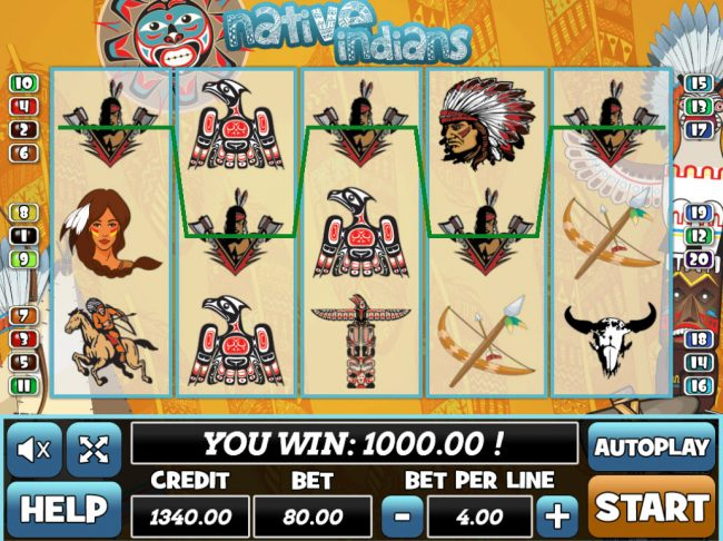 Venetian featuring the Video Slots Native Indians with a maximum payout of $24,000