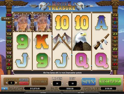 Intercasino featuring the video-Slots Native Treasure with a maximum payout of 5,000x