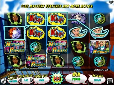 BGO Vegas featuring the Video Slots Natural Powers with a maximum payout of $250,000