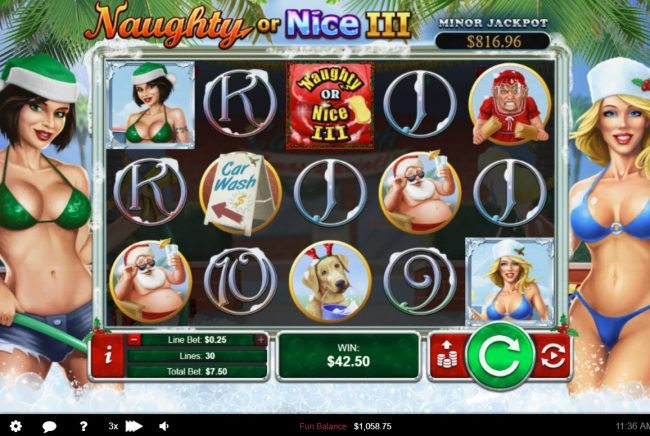 Roaring 21 featuring the Video Slots Naughty or Nice III with a maximum payout of $12, 500