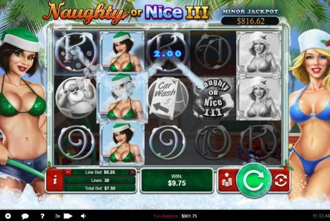 Palace of Chance featuring the Video Slots Naughty or Nice III with a maximum payout of $12, 500