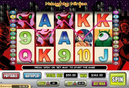 Liberty Slots featuring the Video Slots Naughty Ninjas with a maximum payout of $20,000