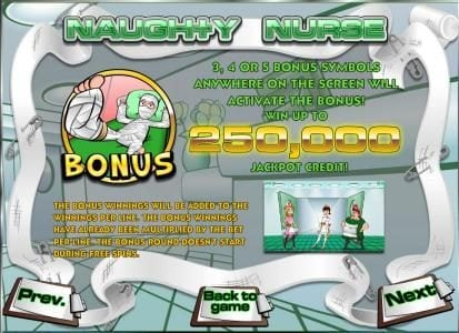 Oshi featuring the Video Slots Naughty Nurse with a maximum payout of $1,250,000