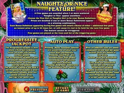 Mega 7's featuring the Video Slots Naughty or Nice? with a maximum payout of $250,000