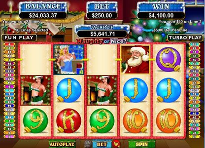 Royal Ace featuring the Video Slots Naughty or Nice? with a maximum payout of $250,000