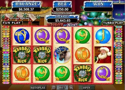 Platinum Reels featuring the Video Slots Naughty or Nice? with a maximum payout of $250,000