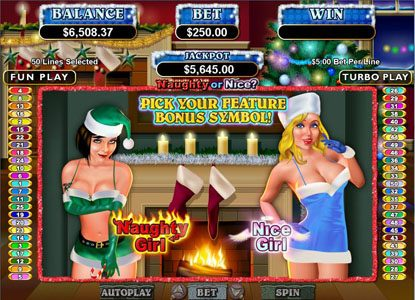 Diamond Reels featuring the Video Slots Naughty or Nice? with a maximum payout of $250,000