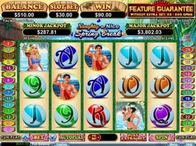 Intertops featuring the Video Slots Naughty or Nice Spring Break with a maximum payout of $250,000
