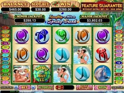 Real Vegas Online featuring the Video Slots Naughty or Nice Spring Break with a maximum payout of $250,000