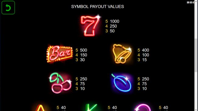 X-Bet featuring the Video Slots Neon Classic with a maximum payout of $486,000