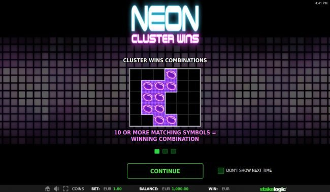 Play slots at Videoslots: Videoslots featuring the Video Slots Neon Cluster Wins with a maximum payout of $162,500
