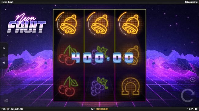 Playgrand featuring the Video Slots Neon Fruit with a maximum payout of $25,000
