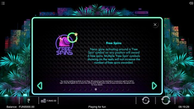 Neon Jungle :: Free Spins Rules