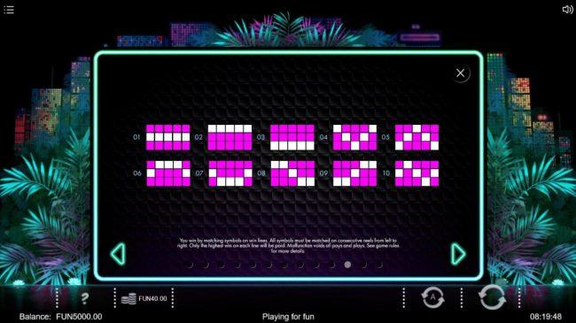 Neon Jungle :: Paylines 1-10