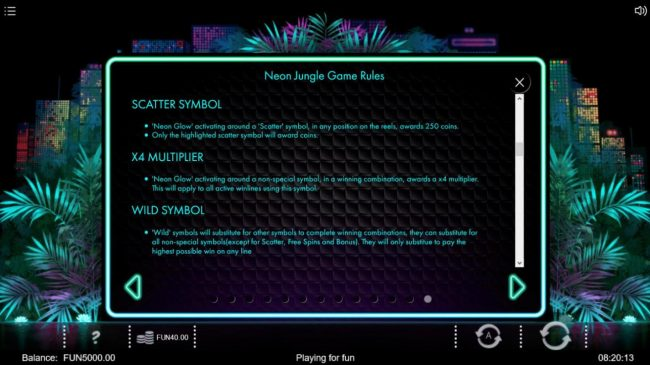 Neon Jungle :: Scatter Symbol, X4 Multiplier and Wild Symbol Rules