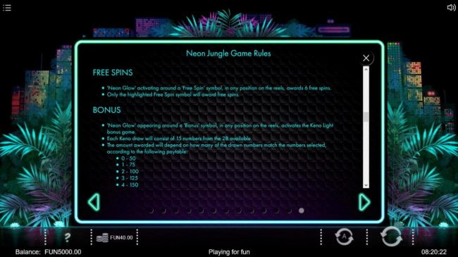 Neon Jungle :: Free Spins and Bonus Rules
