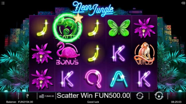 Neon Jungle :: Scatter symbols triggers a 500 coin payout