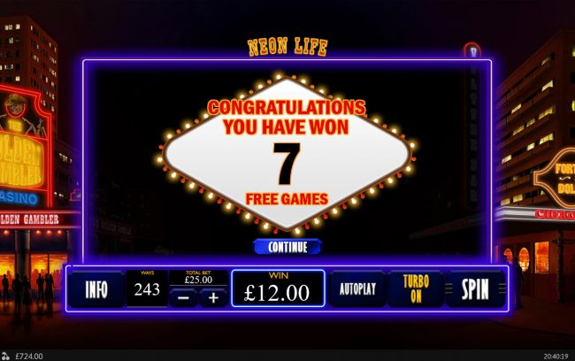 Winner Online featuring the Video Slots Neon Life with a maximum payout of $7,500