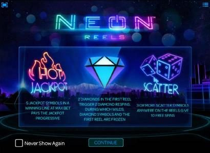 Casiplay featuring the Video Slots Neon Reels with a maximum payout of Jackpot