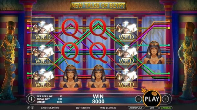 Vive Mon Casino featuring the Video Slots New Tales of Egypt with a maximum payout of $20,000
