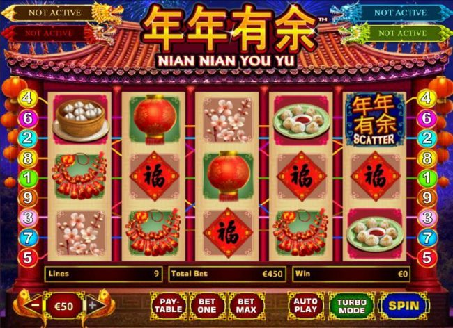 Nian Nian You Yu :: Main game board featuring five reels and 9 paylines with a progressive jackpot payout