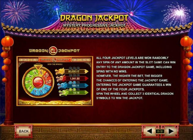 Nian Nian You Yu :: Dragon Jackpot Rules - All four jackpots levels are won randomly any spin of any amount in slot game cane win entry to the Dragon Jackpot game, including spins with no wins