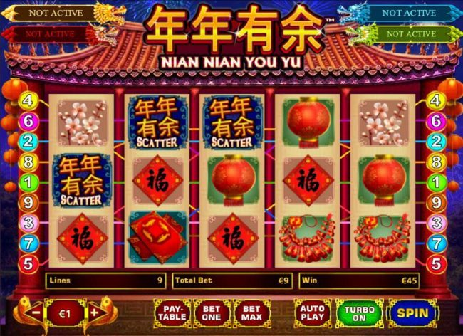 Nian Nian You Yu :: three scatter symbols trigger 5x payout