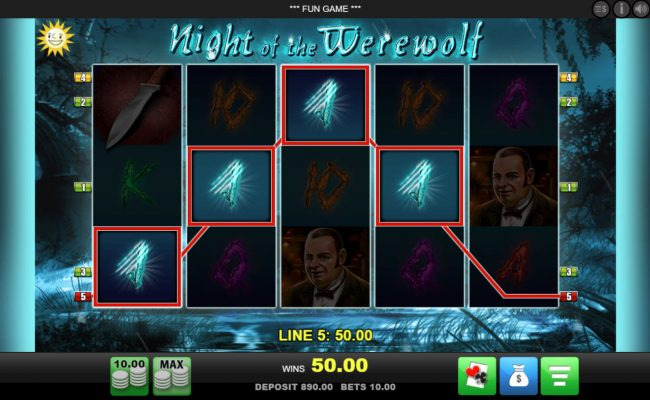 Slot Planet featuring the Video Slots Night of the Werewolf with a maximum payout of $10,000