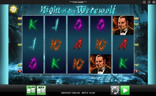Play slots at Slottica: Slottica featuring the Video Slots Night of the Werewolf with a maximum payout of $10,000
