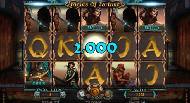 NordiCasino featuring the Video Slots Nights of Fortune with a maximum payout of $8,000