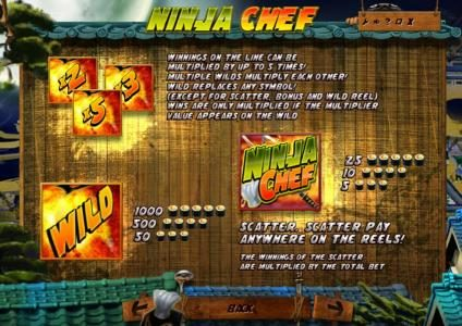 Joe Fortune featuring the Video Slots Ninja Chef with a maximum payout of $2,000