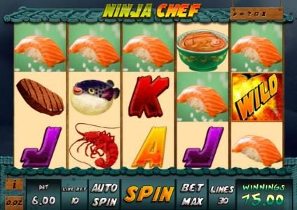 Play slots at Casdep: Casdep featuring the Video Slots Ninja Chef with a maximum payout of $2,000