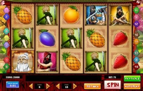 Neder featuring the Video Slots Ninja Fruits with a maximum payout of $1250