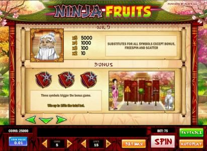 Go Wild featuring the Video Slots Ninja Fruits with a maximum payout of $1250