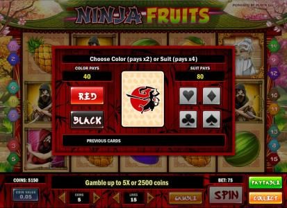 Shadowbet featuring the Video Slots Ninja Fruits with a maximum payout of $1250