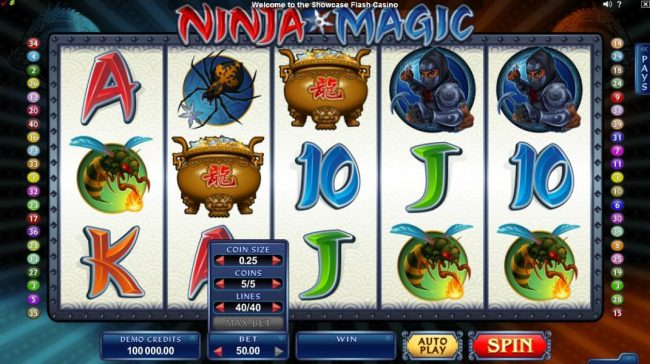 Players Palace featuring the Video Slots Ninja Magic with a maximum payout of $15,000