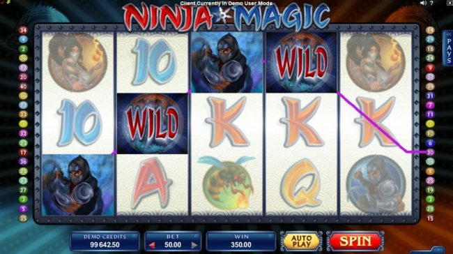 Playamo featuring the Video Slots Ninja Magic with a maximum payout of $15,000