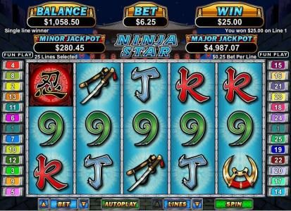 Siver Oak featuring the Video Slots Ninja Star with a maximum payout of $250,000