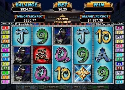 Saturn featuring the Video Slots Ninja Star with a maximum payout of $250,000