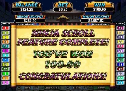 ninja scroll feature first level pays out $100