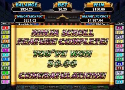 2nd level of bonus feature triggers an additional $50 payout