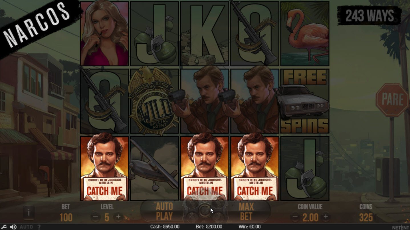 Play slots at Jonny Jackpot: Jonny Jackpot featuring the Video Slots Narcos with a maximum payout of $602,400