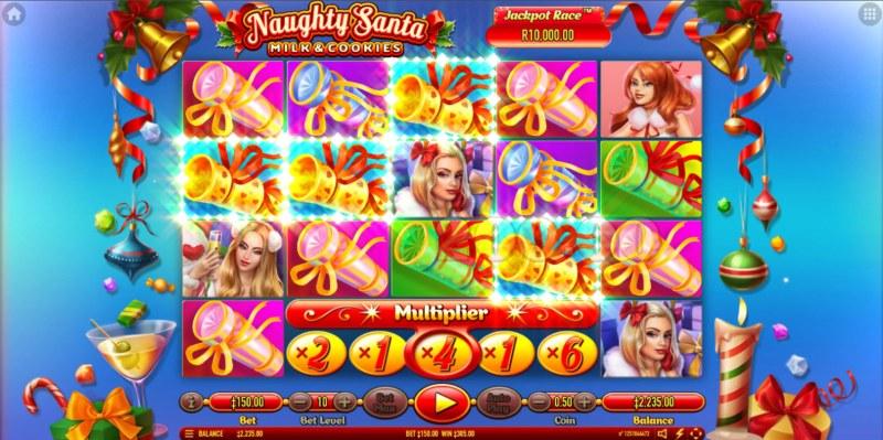Naughty Santa Milk & Cookies :: Free Spins Game Board